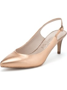 Autograph Leather Pointed Toe Slingback Shoes With Insolia® - predominant colour: gold; occasions: evening; material: leather; heel height: mid; heel: stiletto; toe: pointed toe; style: slingbacks; finish: metallic; pattern: plain