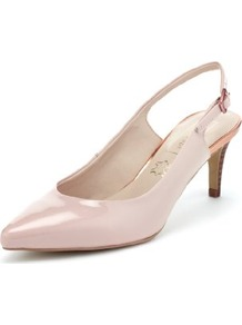 Autograph Leather Pointed Toe Slingback Shoes With Insolia® - predominant colour: nude; occasions: occasion; material: leather; heel height: mid; heel: stiletto; toe: pointed toe; style: slingbacks; finish: patent; pattern: plain
