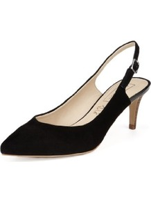 Autograph Suede Water Resistant Pointed Toe Slingback Shoes With Insolia® - predominant colour: black; occasions: evening; material: suede; heel height: mid; heel: stiletto; toe: pointed toe; style: slingbacks; finish: plain; pattern: plain