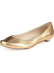 Autograph Leather Slip On Pumps - predominant colour: gold; occasions: casual; material: leather; heel height: flat; toe: round toe; style: ballerinas / pumps; finish: metallic; pattern: plain