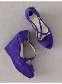 Crossover Wedges - predominant colour: purple; occasions: casual, evening, holiday; material: suede; heel height: high; heel: wedge; toe: open toe/peeptoe; style: standard; finish: plain; pattern: plain