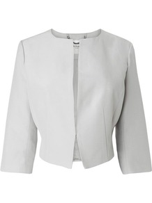 Vanda Cropped Jacket Silver - pattern: plain; style: cropped; collar: round collar/collarless; length: cropped; predominant colour: light grey; fit: tailored/fitted; fibres: cotton - mix; occasions: occasion; sleeve length: 3/4 length; sleeve style: standard; pattern type: fabric; texture group: woven light midweight