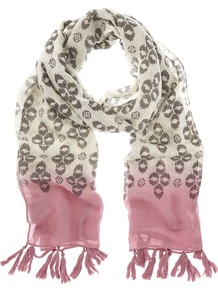 Tilly Scarf, Multi - secondary colour: ivory; occasions: casual, holiday; type of pattern: standard; style: regular; size: standard; material: fabric; embellishment: tassels; pattern: patterned/print; predominant colour: dusky pink