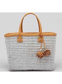 Tote Chunky Straw - secondary colour: tan; predominant colour: silver; occasions: casual, holiday; style: tote; length: shoulder (tucks under arm); size: standard; material: macrame/raffia/straw; pattern: plain; finish: plain