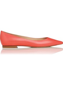 Ivana Leather Point Toe Flat Orange Coral - predominant colour: coral; occasions: casual, work; material: leather; heel height: flat; toe: pointed toe; style: ballerinas / pumps; finish: patent; pattern: plain