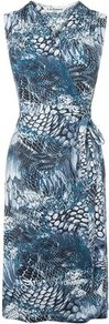Gigi Wrap Dress Print Blue Snake - style: faux wrap/wrap; neckline: v-neck; fit: tailored/fitted; sleeve style: sleeveless; waist detail: belted waist/tie at waist/drawstring; secondary colour: pale blue; occasions: casual, work, occasion; length: just above the knee; fibres: viscose/rayon - stretch; predominant colour: multicoloured; sleeve length: sleeveless; trends: statement prints; pattern type: fabric; pattern size: big & busy; pattern: patterned/print; texture group: jersey - stretchy/drapey