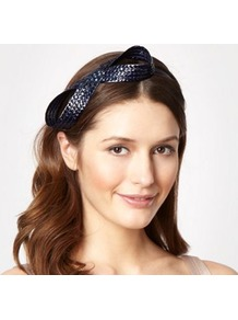 Navy Figure Of Eight Headband - predominant colour: navy; occasions: evening, occasion, holiday; type of pattern: small; style: cocktail; size: small; material: fabric; embellishment: bow; pattern: plain