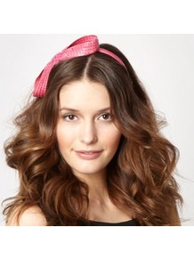 Bright Pink Figure Of Eight Headband - predominant colour: pink; occasions: evening, occasion; type of pattern: small; style: fascinator; size: standard; material: sinamay; embellishment: bow; pattern: plain