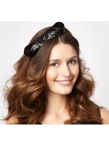 Designer Black Figure Of Eight Headband - predominant colour: black; occasions: evening, occasion; type of pattern: light; style: fascinator; size: small; material: fabric; embellishment: bow; pattern: plain; trends: metallics
