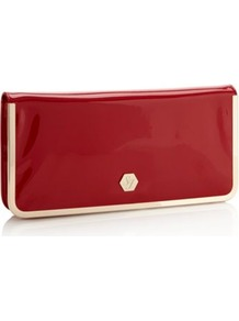 Designer Red Metal Edge Envelope Clutch Bag - predominant colour: burgundy; occasions: evening, occasion; type of pattern: standard; style: clutch; length: hand carry; size: standard; material: faux leather; pattern: plain; finish: patent; embellishment: chain/metal
