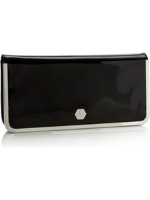 Designer Black Metal Edge Envelope Clutch Bag - secondary colour: silver; predominant colour: black; occasions: evening, occasion; type of pattern: standard; style: clutch; length: hand carry; size: standard; material: faux leather; pattern: plain; finish: patent; embellishment: chain/metal
