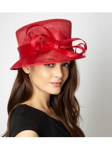 Red Spiralled Bow Hat - predominant colour: true red; occasions: evening, occasion; type of pattern: standard; style: brimmed; size: large; material: macrame/raffia/straw; embellishment: bow; pattern: plain