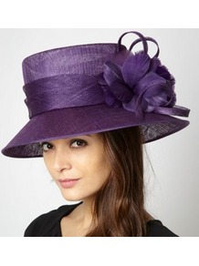 Dark Purple Looped Feather Corsage Hat - predominant colour: purple; secondary colour: purple; occasions: evening, occasion; type of pattern: standard; style: wide brimmed; size: large; material: macrame/raffia/straw; pattern: plain; embellishment: corsage