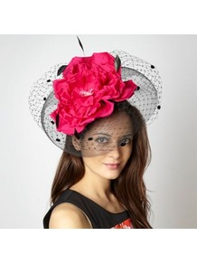 Designer Pink And Black Oversize Rose Fascinator - predominant colour: hot pink; secondary colour: black; occasions: evening, occasion; type of pattern: large; style: fascinator; size: large; material: macrame/raffia/straw; trends: fluorescent; pattern: colourblock; embellishment: corsage