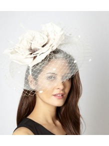 Designer Cream Oversize Rose Fascinator - predominant colour: ivory; occasions: evening, occasion; type of pattern: standard; style: fascinator; size: standard; material: fabric; pattern: plain; embellishment: corsage