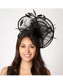 Designer Black Pleated Ruffle Fascinator - predominant colour: black; occasions: evening, occasion; type of pattern: standard; style: fascinator; size: large; material: macrame/raffia/straw; embellishment: feather; pattern: plain; trends: sculptural frills