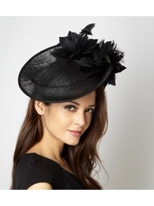 Designer Black Floral Disc Fascinator - predominant colour: black; occasions: evening, occasion; type of pattern: standard; style: fascinator; size: standard; material: macrame/raffia/straw; embellishment: feather; pattern: plain