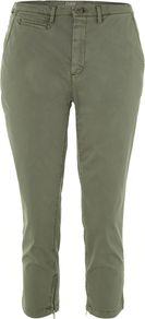 Day Cela Cropped Chinos, Khaki - pattern: plain; pocket detail: small back pockets, pockets at the sides; waist: mid/regular rise; predominant colour: khaki; occasions: casual; length: calf length; style: chino; fibres: cotton - stretch; texture group: cotton feel fabrics; fit: slim leg; pattern type: fabric
