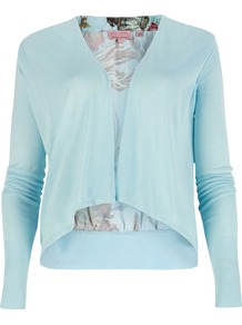 Reeva Floral Wrap Cardigan, Powder Blue - pattern: plain; neckline: waterfall neck; style: open front; predominant colour: pale blue; occasions: casual; length: standard; fibres: viscose/rayon - 100%; fit: standard fit; sleeve length: long sleeve; sleeve style: standard; texture group: knits/crochet
