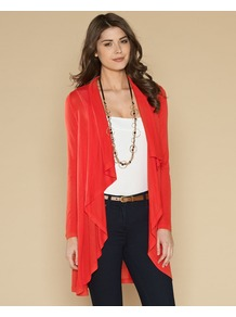 Iris Coverup - pattern: plain; neckline: waterfall neck; length: below the bottom; style: open front; predominant colour: true red; occasions: casual, work; fibres: viscose/rayon - 100%; fit: loose; sleeve length: long sleeve; sleeve style: standard; pattern type: fabric; texture group: jersey - stretchy/drapey