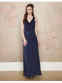 Daisy Maxi Dress - neckline: low v-neck; fit: empire; pattern: plain; sleeve style: sleeveless; style: maxi dress; predominant colour: navy; occasions: evening, occasion; length: floor length; fibres: silk - 100%; sleeve length: sleeveless; texture group: silky - light; pattern type: fabric