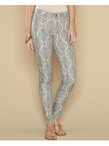 Tamsin Printed Jeans - style: skinny leg; length: standard; pocket detail: traditional 5 pocket; waist: mid/regular rise; predominant colour: mid grey; occasions: casual, evening, holiday; fibres: cotton - stretch; texture group: denim; trends: statement prints; pattern type: fabric; pattern size: big &amp; busy; pattern: animal print