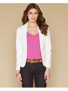 Belinda Cotton Broderie Jacket - pattern: plain; style: single breasted blazer; collar: standard lapel/rever collar; predominant colour: white; occasions: casual, evening, work, holiday; length: standard; fit: tailored/fitted; fibres: cotton - 100%; sleeve length: long sleeve; sleeve style: standard; collar break: medium; pattern type: fabric; texture group: broiderie anglais