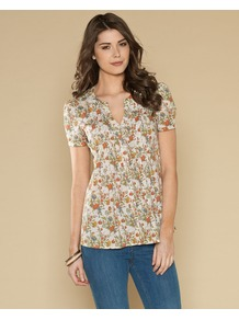 Clementine Print Top - neckline: v-neck; secondary colour: bright orange; occasions: casual, holiday; length: standard; style: top; fibres: cotton - 100%; fit: straight cut; predominant colour: multicoloured; sleeve length: short sleeve; sleeve style: standard; texture group: cotton feel fabrics; pattern type: fabric; pattern size: small &amp; busy; pattern: florals