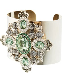 Limited Edition Green Floral Detail Cuff - secondary colour: pistachio; predominant colour: gold; occasions: evening, occasion; style: cuff; size: large/oversized; material: chain/metal; finish: metallic; embellishment: jewels