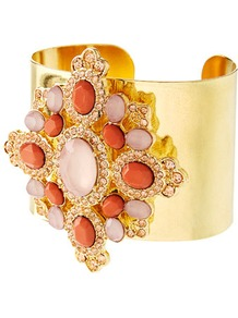 Limited Edition Coral Flower Detail Cuff - secondary colour: coral; predominant colour: gold; occasions: evening, occasion; style: cuff; size: large/oversized; material: chain/metal; finish: metallic; embellishment: jewels