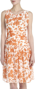 Abigail Floral Print Dress - style: shift; fit: fitted at waist; sleeve style: sleeveless; waist detail: drop waist; bust detail: ruching/gathering/draping/layers/pintuck pleats at bust; predominant colour: white; secondary colour: bright orange; occasions: evening, work, occasion, holiday; length: just above the knee; fibres: silk - mix; neckline: crew; hip detail: sculpting darts/pleats/seams at hip; sleeve length: sleeveless; texture group: silky - light; trends: volume; pattern type: fabric; pattern size: standard; pattern: florals