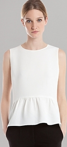 Top Eros - pattern: plain; sleeve style: sleeveless; style: blouse; waist detail: peplum waist detail; predominant colour: white; occasions: evening, work, holiday; length: standard; fibres: silk - 100%; fit: body skimming; neckline: crew; sleeve length: sleeveless; texture group: silky - light; pattern type: fabric