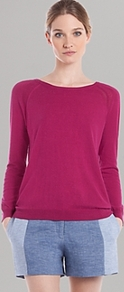 Sweater Suzie - pattern: plain; style: standard; predominant colour: hot pink; occasions: casual; length: standard; fibres: silk - mix; fit: standard fit; neckline: crew; sleeve length: long sleeve; sleeve style: standard; texture group: knits/crochet; pattern type: knitted - fine stitch