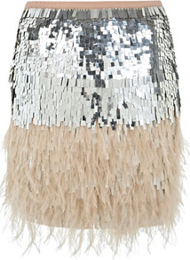 Feather Sequin Skirt - style: straight; fit: body skimming; waist: high rise; secondary colour: blush; predominant colour: silver; occasions: evening, occasion; length: just above the knee; fibres: polyester/polyamide - 100%; hip detail: contrast fabric/print detail at hip; waist detail: narrow waistband; texture group: sheer fabrics/chiffon/organza etc.; trends: metallics; pattern type: fabric; pattern size: standard; pattern: colourblock; embellishment: feathers