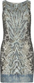 Viper Dress - style: shift; length: mid thigh; neckline: round neck; pattern: plain; sleeve style: sleeveless; predominant colour: silver; secondary colour: gold; occasions: evening, occasion; fit: body skimming; fibres: polyester/polyamide - 100%; back detail: sheer fabric at back; sleeve length: sleeveless; texture group: sheer fabrics/chiffon/organza etc.; trends: metallics; pattern type: fabric; pattern size: big & busy; embellishment: beading