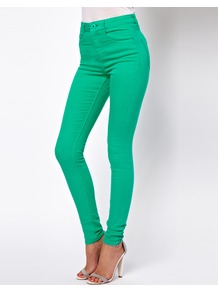 Ridley Supersoft High Waisted Ultra Skinny Jeans In Emerald Green - style: skinny leg; length: standard; pattern: plain; waist: high rise; pocket detail: traditional 5 pocket; predominant colour: emerald green; occasions: casual, evening; fibres: cotton - stretch; texture group: denim; pattern type: fabric
