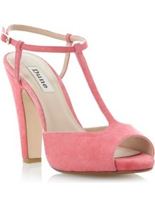 Pink Suede Haggerston Suede T Bar Block Heeled Sandal - predominant colour: pink; occasions: evening, work, occasion, holiday; material: suede; heel height: high; ankle detail: ankle strap; heel: block; toe: open toe/peeptoe; style: standard; finish: plain; pattern: plain