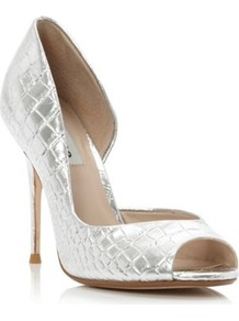Silver Leather Deluxe Metallic Croc Dorsay Peep Toe Court Shoe - predominant colour: silver; occasions: evening, occasion; material: leather; heel: stiletto; toe: open toe/peeptoe; style: courts; trends: metallics; finish: metallic; pattern: animal print; heel height: very high