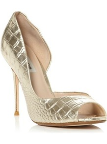 Gold Leather Deluxe Metallic Croc Dorsay Peep Toe Court Shoe - predominant colour: gold; occasions: evening, occasion; material: leather; heel: stiletto; toe: open toe/peeptoe; style: courts; trends: metallics; finish: metallic; pattern: animal print; heel height: very high