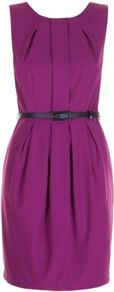 Purple Carmen Dress - style: shift; neckline: round neck; fit: tailored/fitted; pattern: plain; sleeve style: sleeveless; waist detail: belted waist/tie at waist/drawstring; bust detail: ruching/gathering/draping/layers/pintuck pleats at bust; predominant colour: purple; occasions: evening, work, occasion; length: just above the knee; fibres: polyester/polyamide - stretch; hip detail: structured pleats at hip; sleeve length: sleeveless; trends: glamorous day shifts; pattern type: fabric; texture group: other - light to midweight