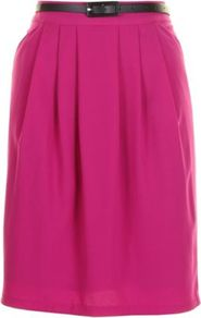Purple Carmen Skirt - length: below the knee; pattern: plain; fit: body skimming; style: pleated; waist detail: belted waist/tie at waist/drawstring; waist: mid/regular rise; predominant colour: hot pink; secondary colour: black; occasions: casual, evening, work, occasion; fibres: polyester/polyamide - mix; hip detail: structured pleats at hip; trends: fluorescent; pattern type: fabric; texture group: jersey - stretchy/drapey