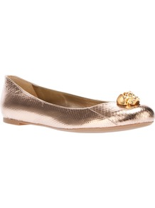 Skull Detail Ballerina Pump - predominant colour: gold; occasions: casual, holiday; material: leather; heel height: flat; toe: round toe; style: ballerinas / pumps; trends: metallics; finish: metallic; pattern: plain; embellishment: chain/metal