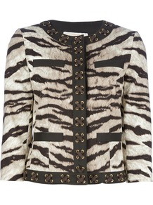 'Samburu' Tiger Print Jacket - collar: round collar/collarless; style: boxy; secondary colour: ivory; predominant colour: chocolate brown; occasions: casual, evening, work; length: standard; fit: straight cut (boxy); fibres: cotton - stretch; sleeve length: 3/4 length; sleeve style: standard; collar break: high; pattern type: fabric; pattern size: standard; pattern: animal print; texture group: woven light midweight
