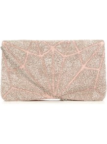 Pink And Gold Deco Bead Embellished Clutch - predominant colour: gold; occasions: evening, occasion; type of pattern: small; style: clutch; length: hand carry; size: standard; material: fabric; embellishment: beading; finish: plain; pattern: patterned/print; secondary colour: dusky pink