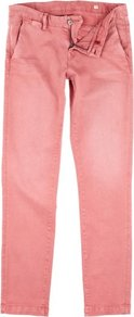 Trousers Bianca Flat - length: standard; pattern: plain; pocket detail: small back pockets, pockets at the sides; waist: mid/regular rise; predominant colour: coral; occasions: casual, holiday; style: chino; fibres: cotton - stretch; texture group: cotton feel fabrics; fit: straight leg; pattern type: fabric