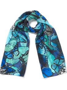 Holly Blue Scarf - predominant colour: navy; secondary colour: turquoise; occasions: casual, evening, work, holiday; type of pattern: heavy; style: regular; size: standard; material: silk; pattern: patterned/print