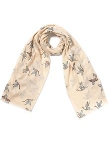 Crane Scarf - predominant colour: stone; occasions: casual, evening, work; type of pattern: large; style: regular; size: standard; material: silk; pattern: patterned/print