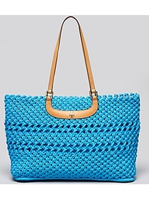 Tote Dawson Large Round - predominant colour: turquoise; occasions: casual, holiday; style: tote; length: shoulder (tucks under arm); size: oversized; material: macrame/raffia/straw; pattern: plain