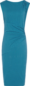 Salma Tile Effect Bodycon Dress - neckline: slash/boat neckline; fit: tight; sleeve style: sleeveless; style: bodycon; waist detail: twist front waist detail/nipped in at waist on one side/soft pleats/draping/ruching/gathering waist detail; predominant colour: turquoise; occasions: evening, occasion; length: on the knee; shoulder detail: flat/draping pleats/ruching/gathering at shoulder; sleeve length: sleeveless; texture group: jersey - clingy; pattern type: fabric; pattern size: standard; pattern: patterned/print; fibres: viscose/rayon - mix