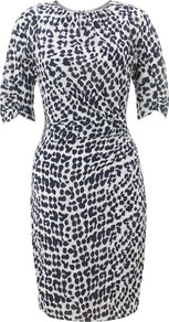 Jocelyn Safari Print Dress - style: shift; length: mid thigh; waist detail: twist front waist detail/nipped in at waist on one side/soft pleats/draping/ruching/gathering waist detail; bust detail: ruching/gathering/draping/layers/pintuck pleats at bust; secondary colour: white; predominant colour: navy; occasions: evening, work, occasion; fit: body skimming; fibres: silk - mix; neckline: crew; sleeve length: short sleeve; sleeve style: standard; texture group: silky - light; trends: statement prints, glamorous day shifts; pattern type: fabric; pattern size: small &amp; busy; pattern: patterned/print
